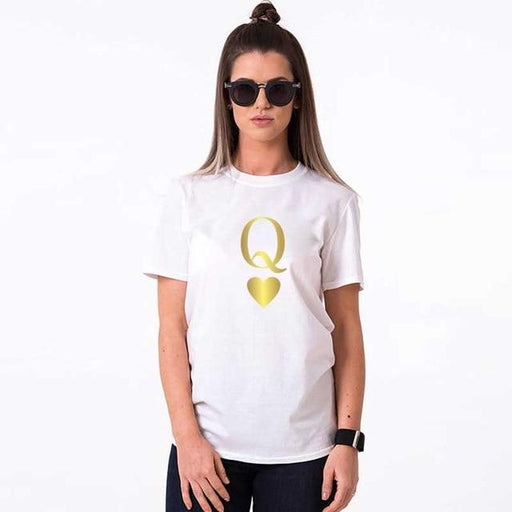Fashion Graphic Tumblr Poker Printing King Queen Heart Streetwear Tshirts Summer Women Men Short Sleeve Casual Couple Lover - primeroar