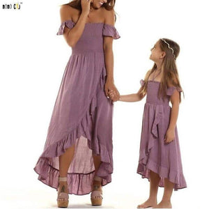 Mother Daughther Dress Off Shoulder Strapless Irregular Ruffles Beach Dresses Family Match Outfits Girl Clothes 3 4 5 6 7 8 Year - primeroar