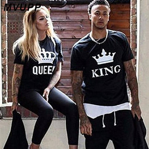 NEW Summer CouplesT Shirt Casual Styles Lovers Tee Tops Shirt Print Cotton Female Clothing Casual King Queen Clothes - primeroar