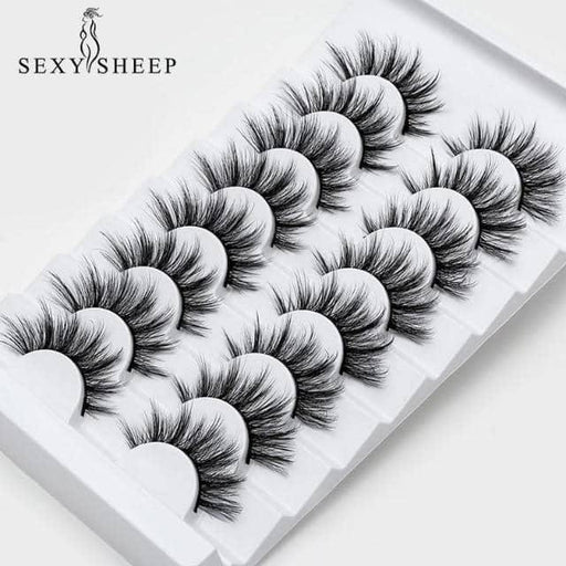 SEXYSHEEP 4/8 pairs 3D Mink Lashes Natural False Eyelashes Dramatic Volume Fake Lashes Makeup Eyelash Extension Silk Eyelashes - primeroar