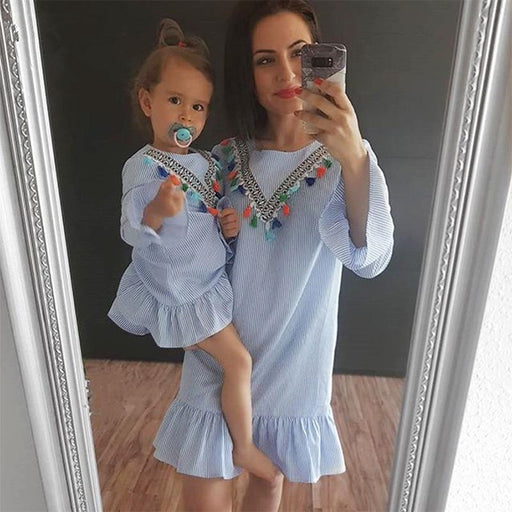 Mother and daughter clothes Nine Quarter Stripe Tassel Mini Dress Mom and daughter dress Family matching clothes Summer Outfits - primeroar