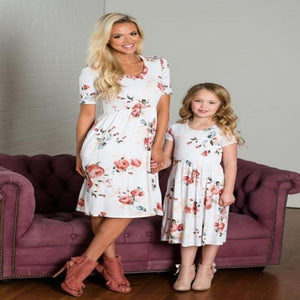 Mother Daughter Dresses Summer Short Sleeve Floral Print Pocket Knee Dress For Mom Daughter Mommy and me clothes - primeroar