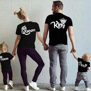 Cotton Matching Family Shirts Family Matching Clothes Matching Father Mother Daughter Son Clothes T-shirt King Queen T shirt - primeroar