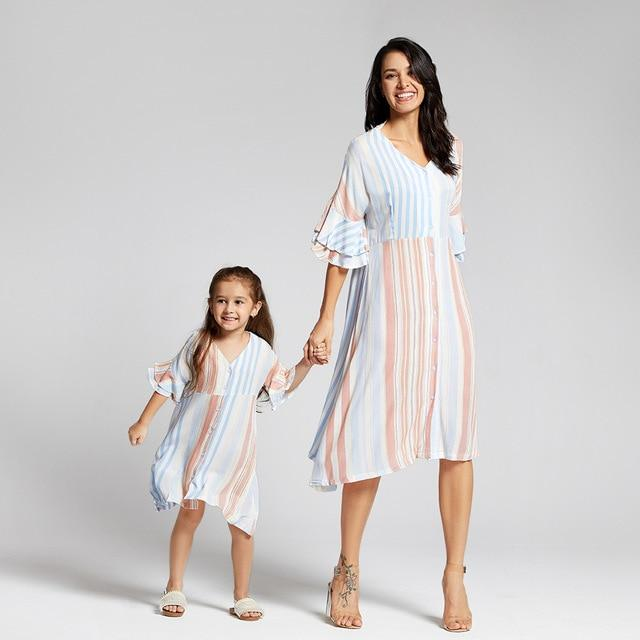 Fresh Striped Midi-sleeve Matching Dresses Short-Sleeve Kids Girl For Mom and Me - primeroar