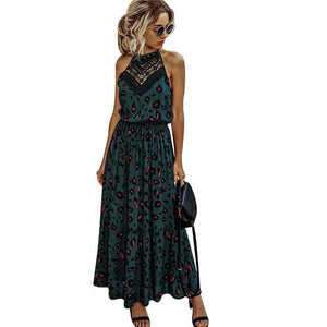 2020 New Summer Women Dress Floral Printed Boho Maxi Dress Elegant Ladies Beach Sundress Sexy Hollow Out Lace Dress vestidos D30 - primeroar