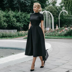 Sale High Quality Elegant Black Dress Women Vintage Ladies Fit Flare Prom Party Night Formal Dress 2020 Retro Dresses Winter D30 - primeroar