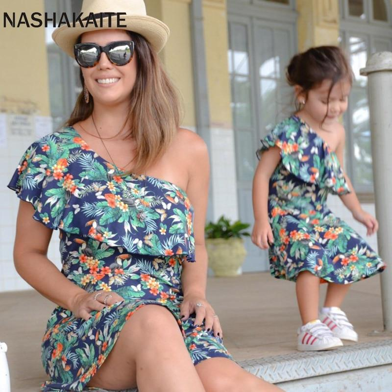 Mom and Daughter dress Leaf Print One Shoulder Mini Dress For Mother and daughter Mommy and me clothes Family Look - primeroar