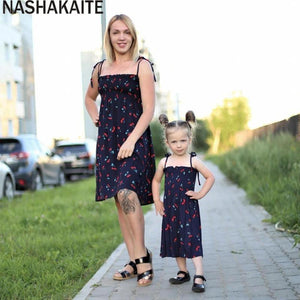 Mom and daughter Dress 2020 Summer Sling Cherry Print Matching Cute Baby /Girl Dresses Fashion Mommy and me Clothes - primeroar