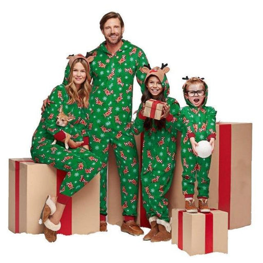 Christmas Pajamas Family Matching Clothes 2020 Red Hooded Romper Mother And Daughter Father Son Outfits Mom Baby child Sleepwear - primeroar