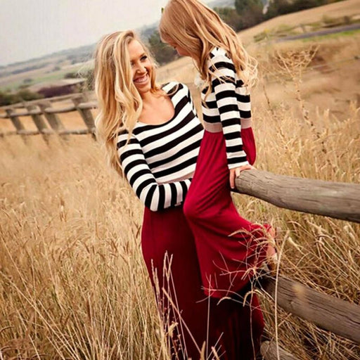 Mother daughter dresse Family Matching clothes Striped Long sleeve Patchwork Mom&daughter dress Family look Fashion like mom - primeroar