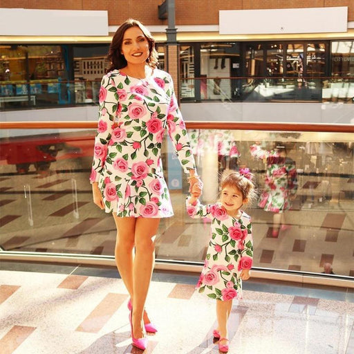 Mother Daughter Dresses Fashion Floral Print Half Sleeve Mommy and Me Clothes Family Matching Outfits Knee-length Dress - primeroar