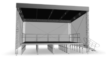Straight Light Roof 10m x 8m (32.8ft x 26.2ft) - Construction with canopy and walls. Stage not included.