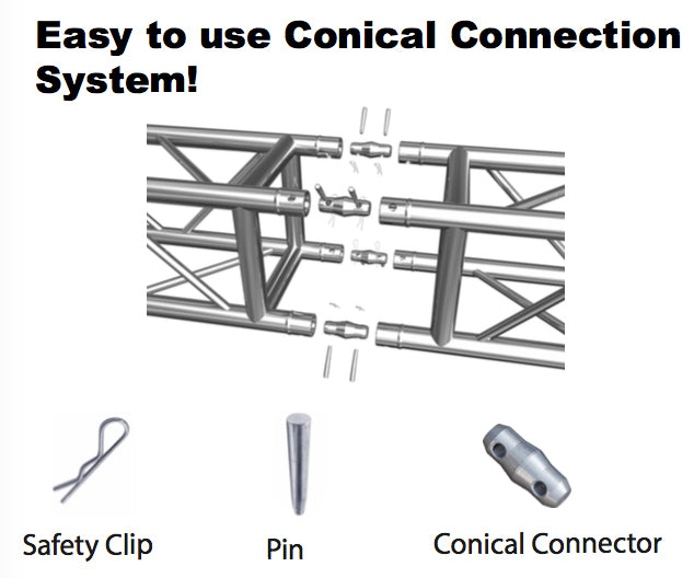 Single Conical Connector with Pins and Safety Clips for Lighter-Duty Truss