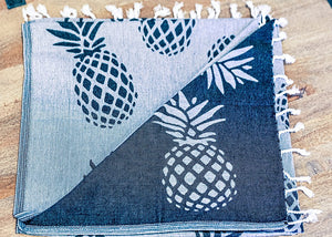 Black Home Ananas Towel Aloha Mālie