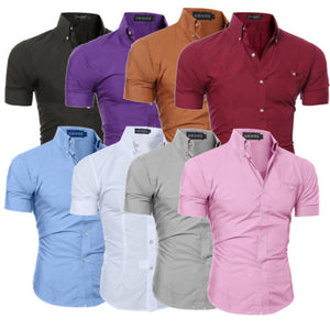 Luxury Men/'s Slim Fit Shirt Short Sleeve Dress Formal Casual T-shirt Top Stylish