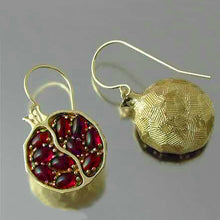 Load image into Gallery viewer, Red Garnet Pomegranate Earrings