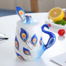Load image into Gallery viewer, Peacock coffee mug - Spandha