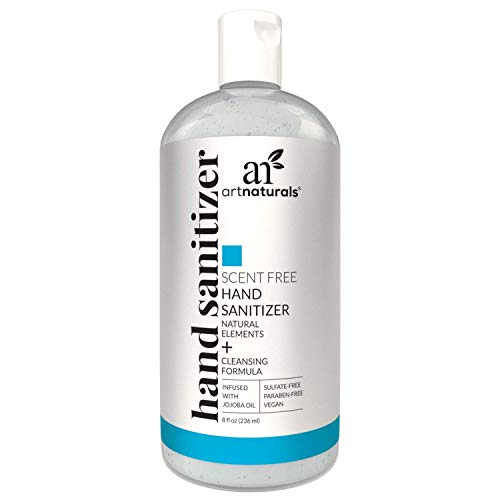 Artnaturals Alcohol Based Hand Sanitizer Gel (2 Pack x 8 Fl Oz / 220ml) Infused with Alovera Gel, Jojoba Oil & Vitamin E - Unscented Fragrance Free Sanitize