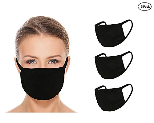 Washable Reusable Face Mask - Double Layer Mouth Cover For Dust Particle & Droplet Protection - Unisex 3 Pack - Black