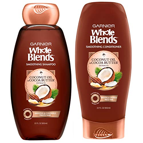 Garnier Hair Care Whole Blends Smoothing Coconut Oil and Cocoa Butter Extracts Shampoo and Conditioner, For Frizzy Hair, 22 Fl Oz, 1 Kit