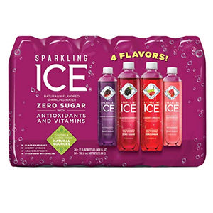 Sparkling ICE Variety Pack, 17 Fl Oz, 12 Count (Black Raspberry, Cherry Limeade, Orange Mango, Kiwi Strawberry) 24 Variety Pack