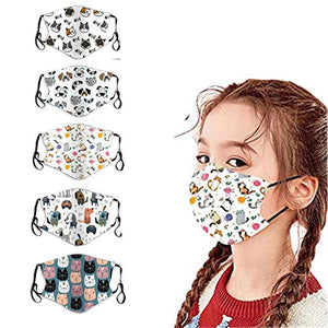 5 Packs Kids Face Bandanas Unisex Cotton Breathable Seamless Cartoon Animals Printed Face Bandanas for Children (Dog&cat)