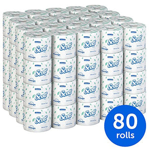 Scott Essential Professional Bulk Toilet Paper for Business (04460), Individually Wrapped Standard Rolls, 2-PLY, White, 80 Rolls / Case, 550 Sheets / Roll