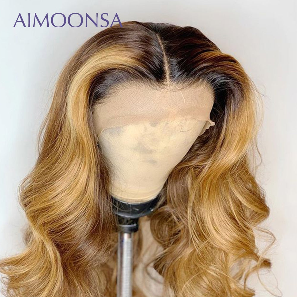 Colored Human Hair Wigs Ombre Lace Front Wig Human Hair Wigs Pre Plucked Baby Hair Wavy Wig	13X6 Deep Part Remy Aimoonsa