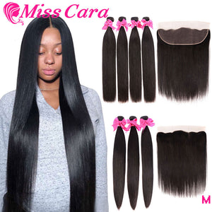 Brazilian Straight Hair Bundles With Frontal Closure 100% Human Hair 3/4 Bundles With Frontal Miss Cara Remy Hair With Closure