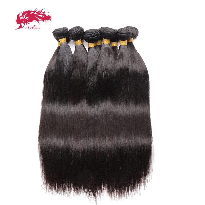 Ali Queen Hair 10Pcs/lot Indian Straight Virgin Hair Bundles 100% Human Hair Weft Products Hair Weave Bundles Free Shipping