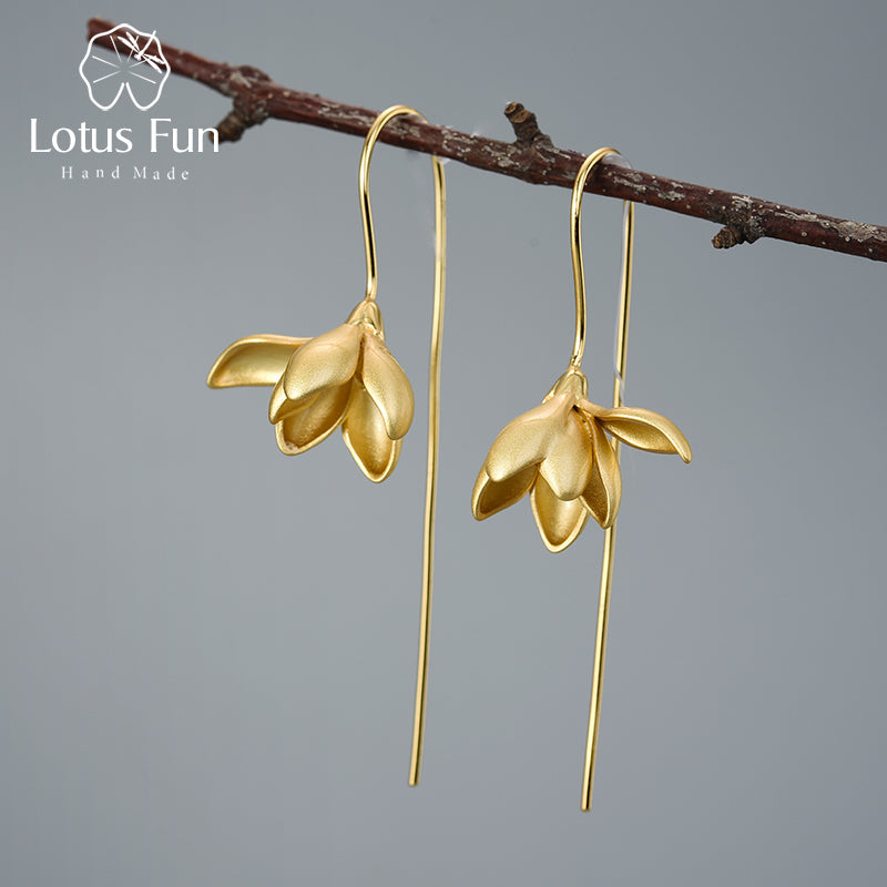 Lotus Fun 18K Gold Elegant Magnolia Flower Dangle Earrings Real 925 Sterling Silver Designer Fine Jewelry Earrings for Women