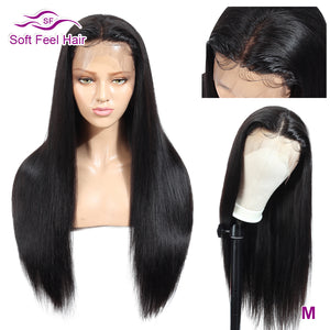 Straight Lace Front Human Hair Wigs 13x4 Transparent Lace Wigs For Black Women Remy Brazilian Wig 150% Density Soft Feel Hair