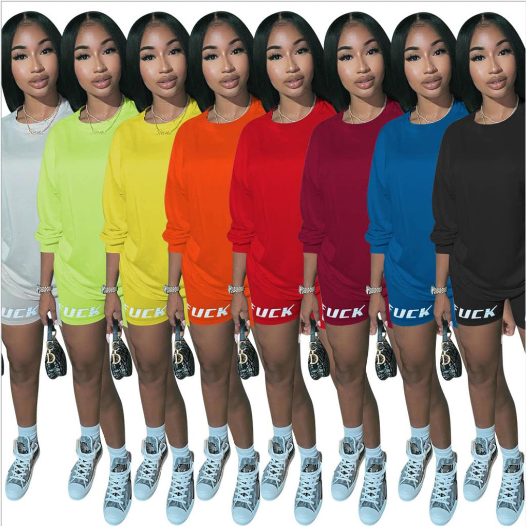 New Letter Print Two Piece Outfits Set Women Tracksuit 2020 Summer Long Sleeve T Shirt Sexy Tops Biker Shorts Jogger suits sets