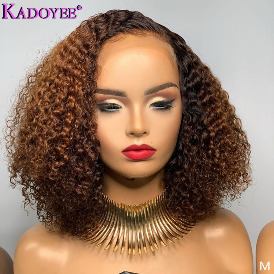 Curly Lace Front Wig Ombre Human Hair Wig 13x4 Lace Front Human Hair Wigs For Black Women Brazilian Remy Hair Wig Bleached Knots