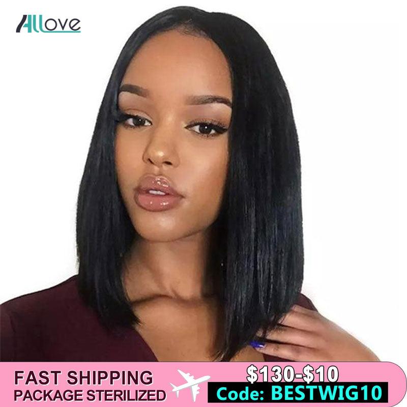 Allove Brazilian Straight Bob Lace Front Wigs For Women Straight Bob 13x6 360 Bob Wig 180% Bob Lace Front Human Hair Wigs