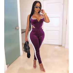 Winter Women's set Velvet bodysuit pencil pants suit two piece set Sexy sleeveless Street casual fashion tracksuit outfit