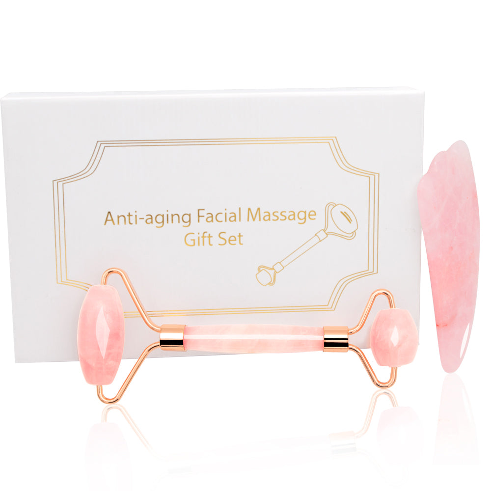 Dropshipping Jade Roller Face Massager Rose Quartz Face Roller Massage Gua Sha Facial Roller Face Slimmer Massager Lift Skincare