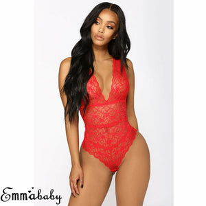 Women's Sexy Lace Floral Lingerie Bodysuits Nightwear Underwear G-string Deep V Neck Plus Size Babydoll Catsuit Sexy Hot Erotic