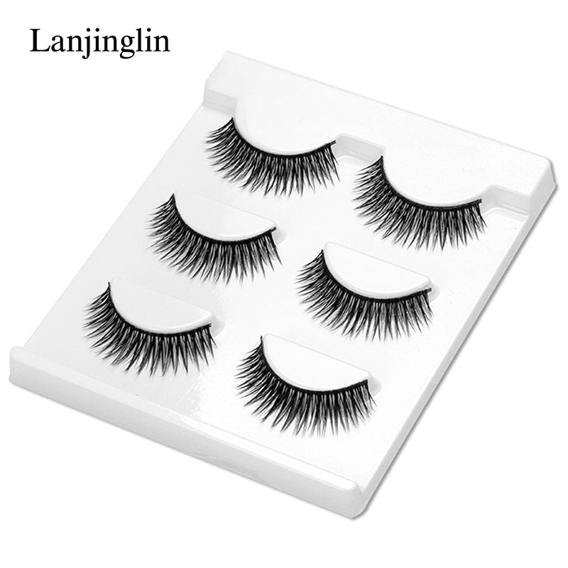 3 Pairs Fashion Professional Handmade False Eyelashes Long Cross Soft Fake Eye Lashes Makeup Beauty Tool Faux Cils #BL08