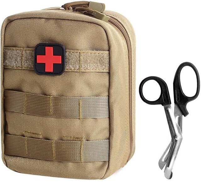 Tactical MOLLE Frist Aid Bag EMT Pouch Medical Utility Bag 1000D Nylon with First Aid Patch and Shear Survival outdoor bag