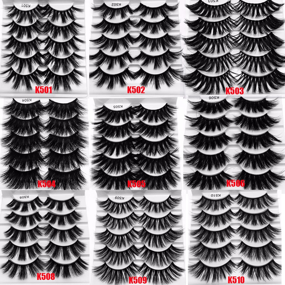 5 Pairs 5D Mink False Eyelashes Wispies Fluffy Eyelash Extension Full Volume Thick Multilayers 15~20mm Handmade Lashes Makeup