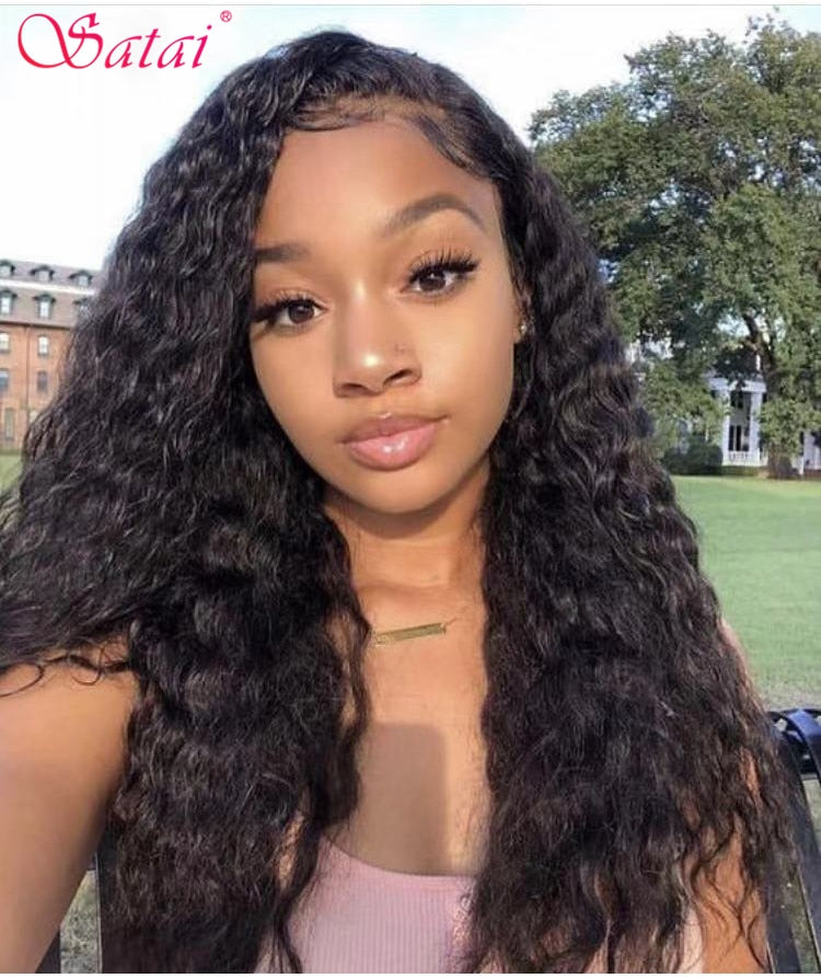 Satai Water wave 13x6 Lace Front Wigs 150/180 Density Brazilian lace front wig Pre Plucked with Baby hair Remy Human Hair Wigs