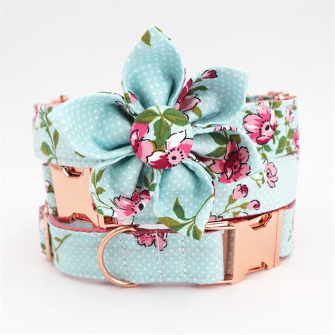 Girl dog collar flower and leash set for pet cat with rose gold metal buckle