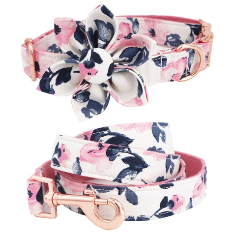 Girl dog collar flower and leash set for pet dog cat with rose gold metal buckle