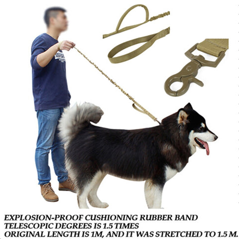 Tactical Military 1000D Nylon US Army Police Dog Training Leash Elastic pet Quick Release