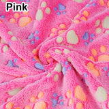 Cute Floral Pet Sleep Warm Paw Print Dog Cat Mat Puppy Fleece Soft Blanket Beds Sofa Pet Supplies