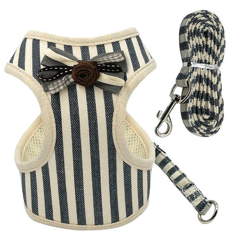 Pet Puppy Dog Cat Harness Leash Set with Bell Cute Lace Vest