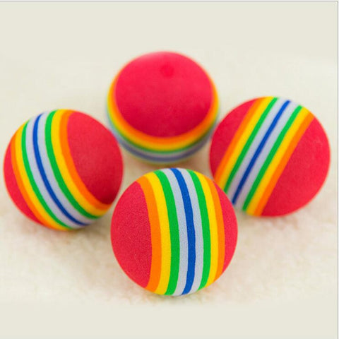 5pcs Funny Pet Toy Colorful Rainbow Soft Foam Ball Chew Rubber Cleaning Teeth