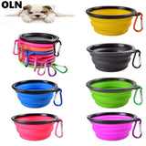 Pet Silica Gel Bowl Dog Cat Collapsible Silicone Dow Portable food Container Feeder Dish