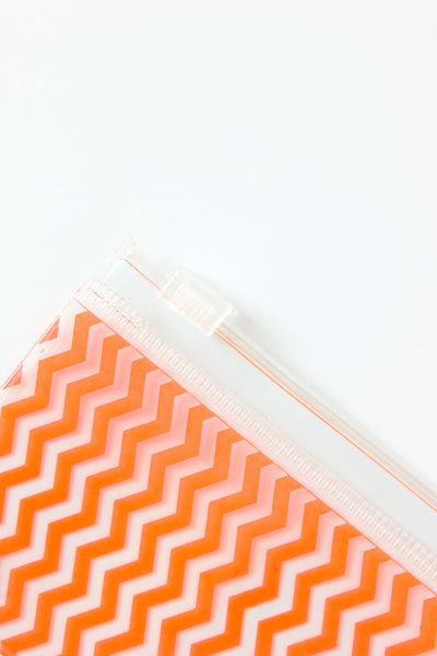 Small Neon Orange Zig-Zag Slide Closure Bag